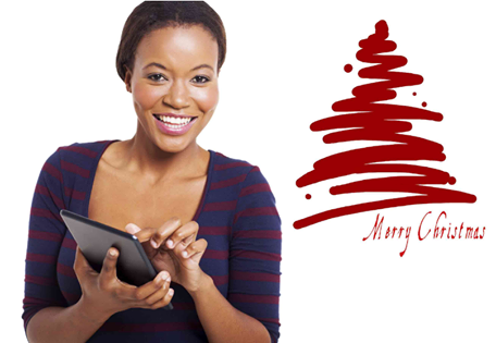 A lady sending Christmas SMS Text Greetings 2